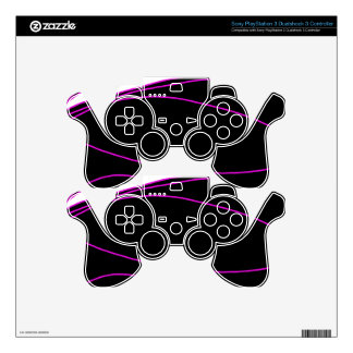 Purple, black and white lines skins for PS3 controllers