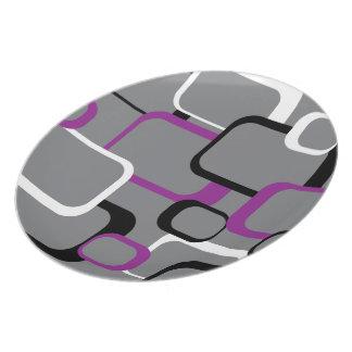 Purple, Black and White Retro Square Plate