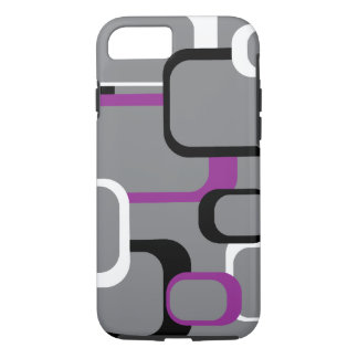 Purple Black and White Retro Squares Gray iPhone 7 Case