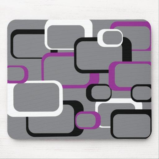 Purple, Black and White Retro Squares Mousepad