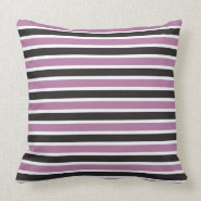 Purple Black and White Striped Throw Pillow