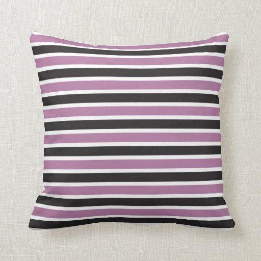 Black And White Striped Throw Pillows : Purple Black and White Striped Throw Pillow Zazzle