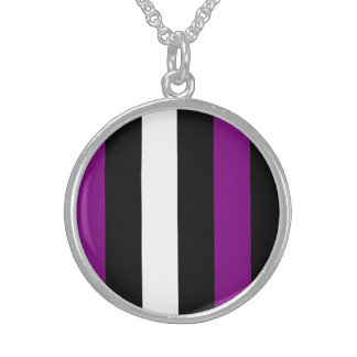 Purple Black And White Stripes Sterling Silver Necklace