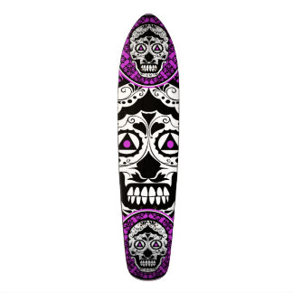 Purple Black and white sugar skull style design Skateboard