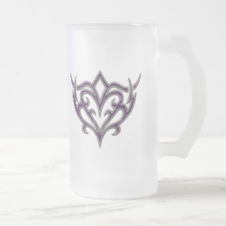PURPLE, BLACK AND WHITE TRIBAL DESIGN FROSTED GLASS BEER MUG