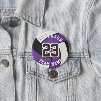 Purple, Black and White Volleyball Button