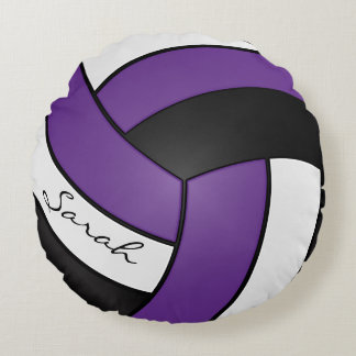 Purple, Black and White Volleyball | DIY Name Round Pillow