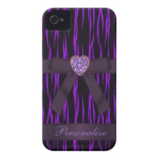 Purple & Black Animal Print Bow & Bling iPhone 4 iPhone 4 Case-Mate Cases