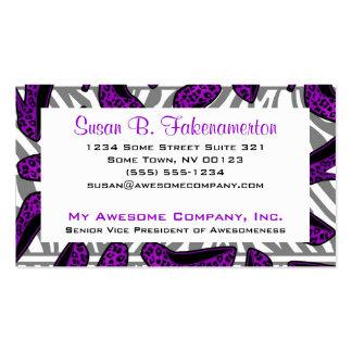 Purple & Black Animal Print High Heel Shoe Business Card Template