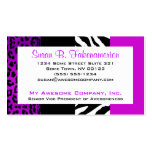 Purple & Black Animal Print Zebra and Leopard Double-Sided Standard Business Cards (Pack Of 100)