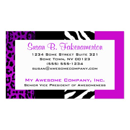 Leopard print business cards business card templates page2 purple black animal print zebra and leopard business cards reheart Images