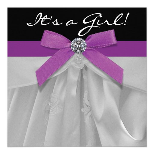 Personalized black white baby shower invitations purple black baby girl shower invitations filmwisefo