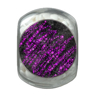 Purple Black Bling Abstract Glass Candy Jar