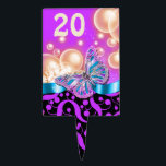 """Purple black blue beach butterfly PERSONALIZE Cake Topper<br><div class=""""desc"""">An elegant, classy and stylish design featuring a single flutterby resting on a ribbon framed by vibrant bubbles and chic swirls. CUSTOMIZE IT - Change the numeral to suit your special event, gathering or occasion and use the &quot;customize it&quot; button to change the background color. CUSTOM ORDERS - For color...</div>"""
