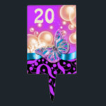 "Purple black blue beach butterfly PERSONALIZE Cake Topper<br><div class=""desc"">An elegant, classy and stylish design featuring a single flutterby resting on a ribbon framed by vibrant bubbles and chic swirls. CUSTOMIZE IT - Change the numeral to suit your special event, gathering or occasion and use the &quot;customize it&quot; button to change the background color. CUSTOM ORDERS - For color...</div>"
