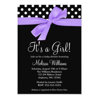"Purple Black Bow Polka Dot Baby Shower Invitations 5"" X 7"" Invitation Card"