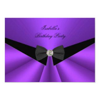 Purple Black Bow Tie Birthday Party Diamond 2 Card