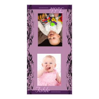 Purple & Black Bride & Groom Photo Table Card