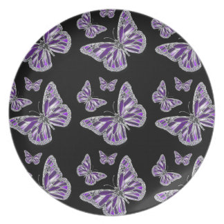 Purple black butterfly girly party plate