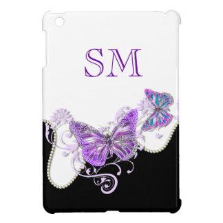 Purple black butterfly monogram iPad mini case