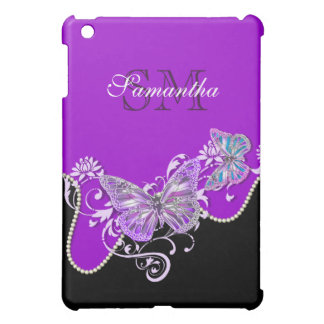 Purple black butterfly monogram iPad mini cases