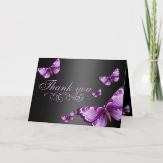 Black and pink butterfly thank you cards