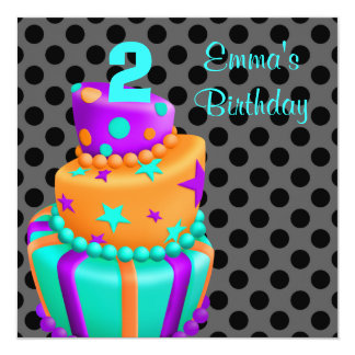 Purple Black Cake Presents Girls 2nd Birthday Personalized Announcement