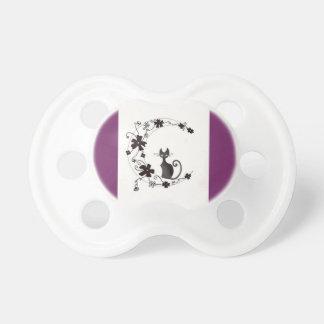 purple black cat moon pacifier