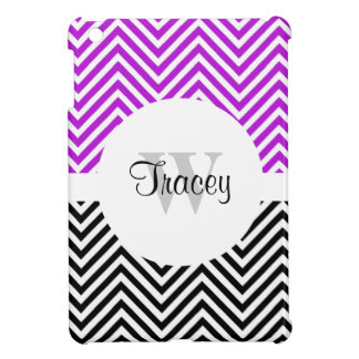 Purple black chevron monogram iPad mini cover