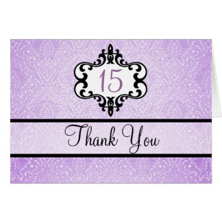 Purple & Black Chic Damask Thank You card