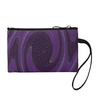 purple black circular abstract coin purse