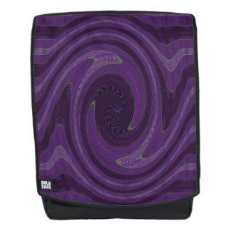 Purple Black Circular Swirl Abstract Backpack