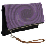 Purple Black Circular Swirl Abstract Clutch