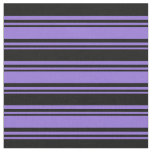 [ Thumbnail: Purple & Black Colored Stripes Pattern Fabric ]