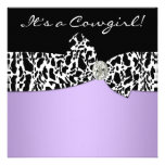 Purple Black Cow Print Cowgirl Baby Shower Custom Invites