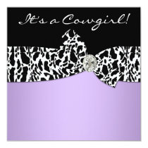 Purple Black Cow Print Cowgirl Baby Shower Invitation