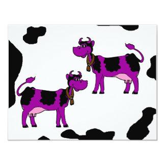 Purple & Black Cows With Brown Bells & Pink Nipple 4.25x5.5 Paper Invitation Card