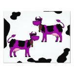 "Purple & Black Cows With Brown Bells & Pink Nipple 4.25"" X 5.5"" Invitation Card"