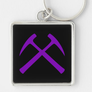 Purple & Black Crossed Rock Hammers Keychain