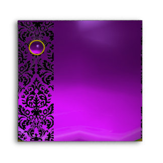 PURPLE BLACK DAMASK Amethyst , Gold Envelope