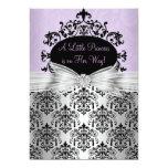 Purple & Black Damask Baby Shower Invitation
