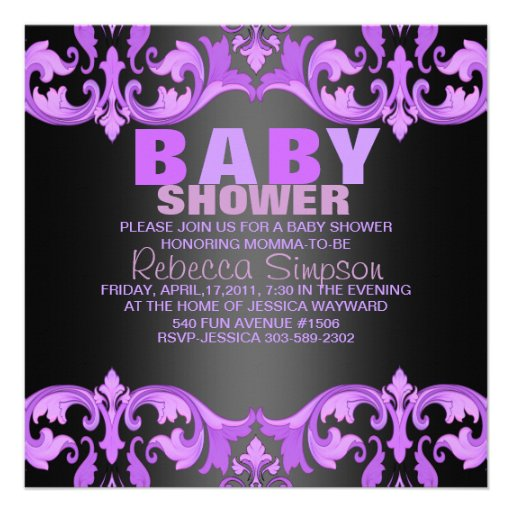 purple black damask baby shower invitation square invitation