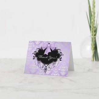 Purple Black Damask Baby Shower Thank You Card card