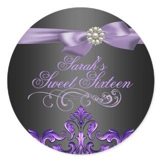 Purple/Black Damask & Bow Sweet 16 Envelope seal sticker