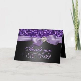 Purple/Black Damask & Bow Thank You Card card