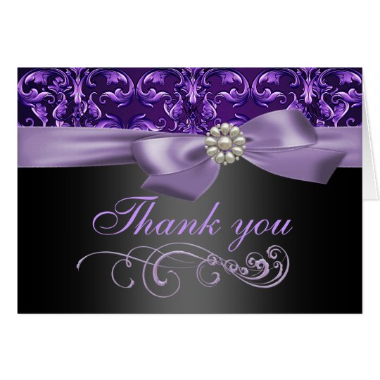 Purple/Black Damask & Bow Thank You Card