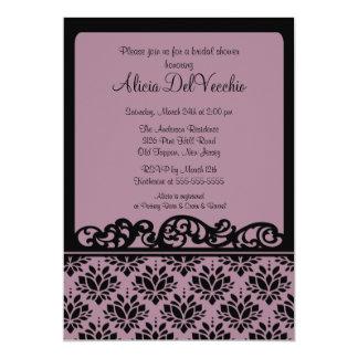 Purple & Black Damask Bridal Shower Invitation