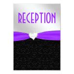 Purple Black Damask Diamond Reception Card Custom Announcements