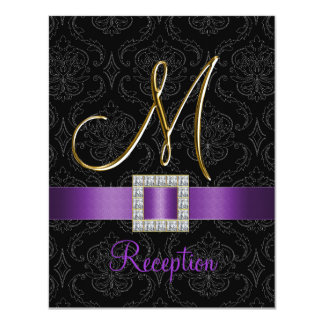 Purple Black Damask Gold Initial M Reception Card Custom Announcements