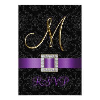 "Purple Black Damask Gold Initial M Wedding RSVP 3.5"" X 5"" Invitation Card"